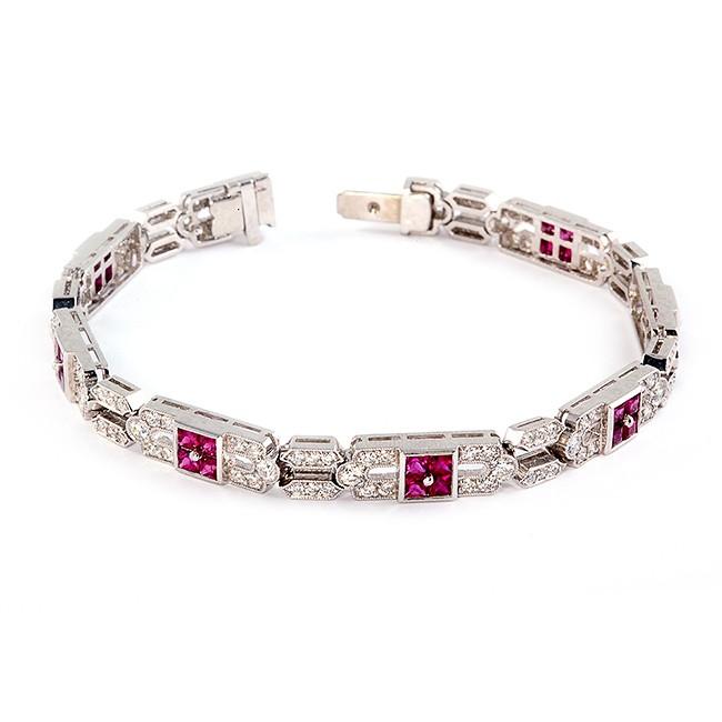 Handmade Platinum Ruby and Diamond Bracelet