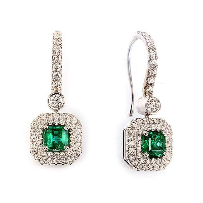 Handmade White Gold Diamond and Emerald Earrings