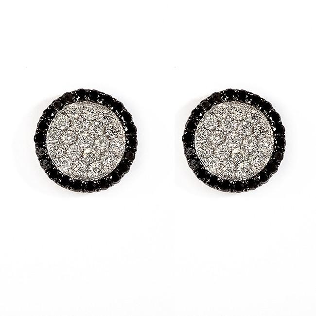 18 K White Gold Black and White Diamond Earrings