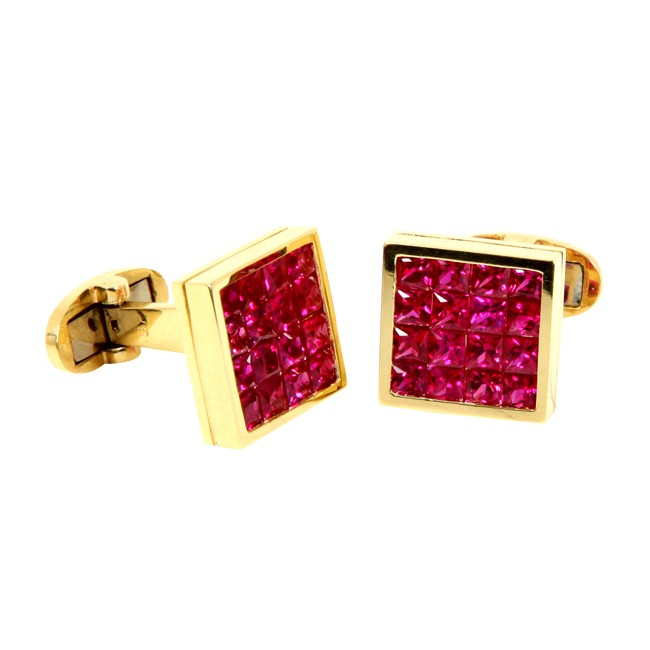 18 Karat Yellow Gold Ruby Cufflinks.