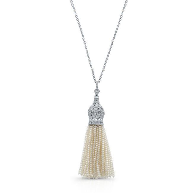 18K White Gold Pearl Tassle Necklace