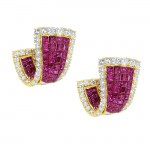 Invisible Diamond and Ruby Earrings