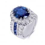 18K White Gold Diamond and Sapphire Ring