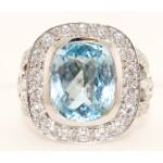 18K White Gold Diamond and Blue Topaz Ring
