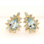18K Yellow Gold Diamond and Aquamarine Earrings