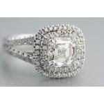 Platinum engagement ring with ascher cut diamond.