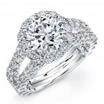 18K White Gold Diamond Halo Engagement Ring