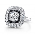 Platinum Handmade Art Deco Style Diamond Ring