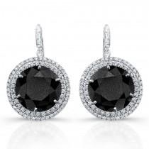 Halo diamond drop earrings with black diamonds.