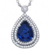 Sapphire and Diamond  White Gold Pendant