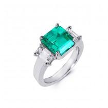 Platinum Diamond and Emerald Ring