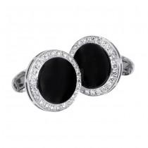 18 karat white gold diamond and onyx cufflinks.