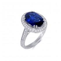 Platinum Diamond and Sapphire Ring
