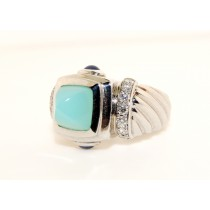 14K White Gold Diamond and Blue Green Chalcedony with Sapphire
