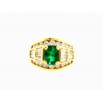 18K Yellow Gold Baguette Diamond and Emerald Ring