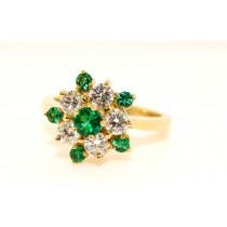 18K Yellow Gold Diamond and Emerald Ring