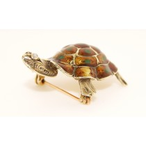 14K Yellow Gold Vintage Turtle Pin