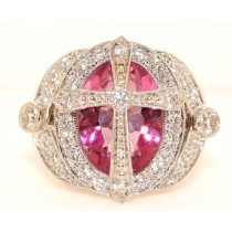 18K White Gold Diamond and Pink Topaz Ring