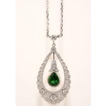 Platinum Diamond and Tsavorite Necklace