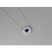 Diamond and sapphire necklace.