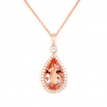Rose Gold Diamond and Morganite Pendant