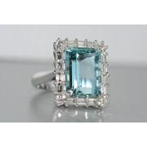 Handmade Aquamarine and diamond ring.
