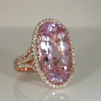 Kunzite diamond ring