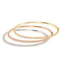 White, Pink, and Yellow Gold Diamond Bangles