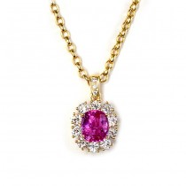 Yellow Gold Diamond and Pink Sapphire Pendant