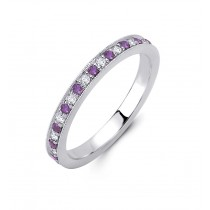 18K White Gold Diamond and Pink Sapphire Ring