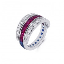 Platinum Diamond, Sapphire and Ruby Ring