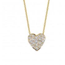 18K Yellow Gold Diamond Heart Pendant