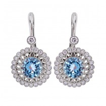 18K White Gold Diamond and Aquamarine Drop Earrings