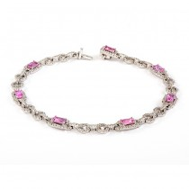 White Gold Diamond and Pink Sapphire Bracelet