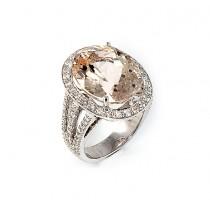 14 K White Gold Diamond and Morganite Ring