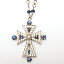 18K Sapphires and Diamonds White Gold Cross Necklace