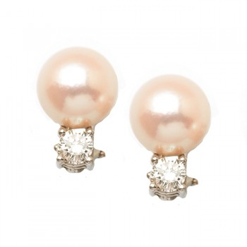 Diamond Cultured Pearl Earrings