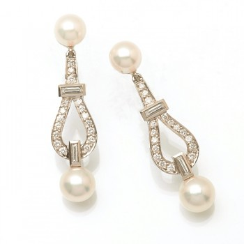 Platinum White Pearl Earrings