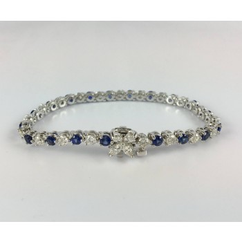 18 Karat White Gold Diamond and Sapphire Tennis Bracelet