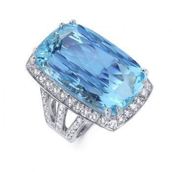 Diamond Aquamarine Ring