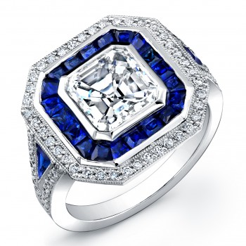 Ascher cut diamond  and Sapphire ring.