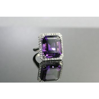18 Karat White Gold Amethyst and Diamond Ring