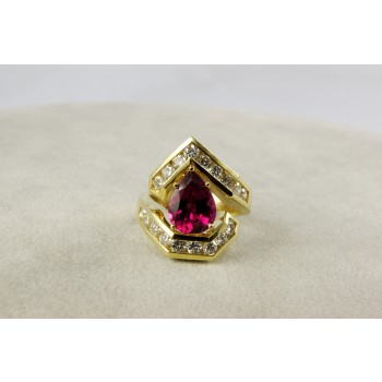 Yellow Gold Diamond and Rubelite  Ring