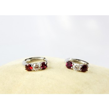 18K White Gold Diamond and Genuine Ruby loop earrings