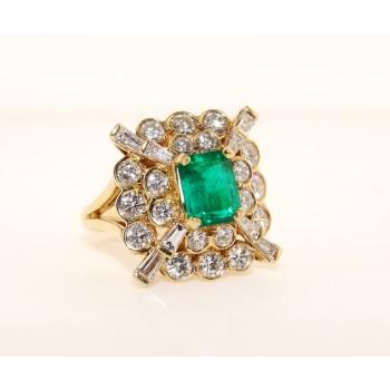 18K Yellow Gold Diamond and Emerald Earrings