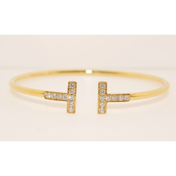 18K Yellow Gold Diamond T Bangle