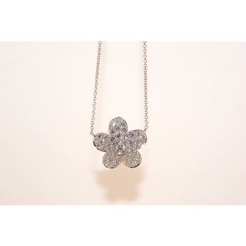 18 karat white gold diamond flower necklace.