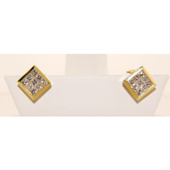 18K Yellow Gold Diamond Stud Earrings