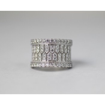 18 karat white diamond band.