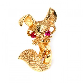 Yellow Gold and Ruby Pin